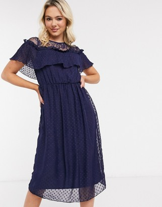 Little Mistress skater midi dress in dobby mesh in navy