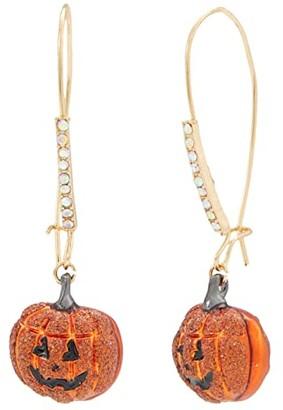 Betsey Johnson Pumpkin Shepherd's Hook Drop Earrings (Orange) Earring