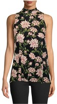 Nicole Miller Spring Dream Jersey Turtleneck Top (Spring Dream Black) Women's Clothing
