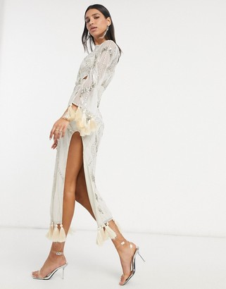 ASOS DESIGN embellished maxi dress with cut out and tassle detail