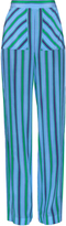 MSGM Wide-leg striped silk trousers