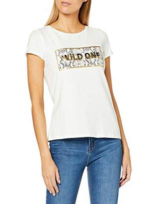 Comma Women's 87.909..8509 T-Shirt, White Placed Print 01D9, 8 (Size:)