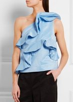 MSGM One Shoulder Ruffle Top Blue