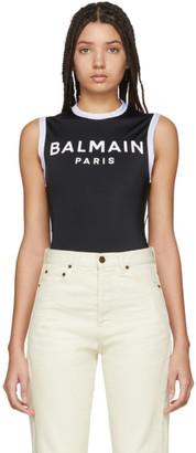 Balmain Black Logo Bodysuit