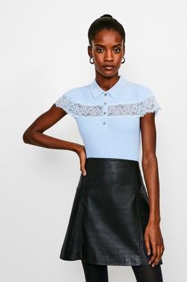Karen Millen Lace Insert Collared Knit Top