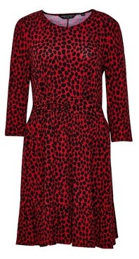 Dorothy Perkins Womens Red Leopard Print Ruched Waist Dress, Red
