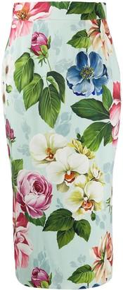 Dolce & Gabbana Floral Print Pencil Skirt