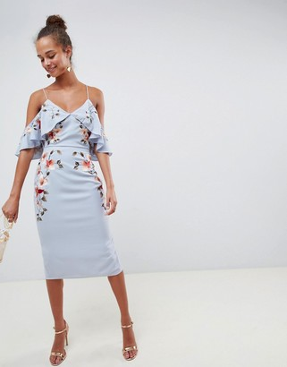 Asos DESIGN Embroidered Pencil Midi Dress With Cold Shoulder