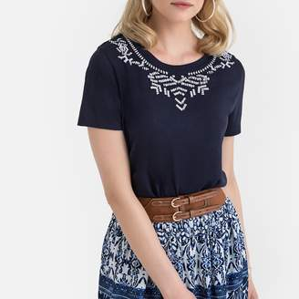 Anne Weyburn Embroidered Jersey Draping T-Shirt