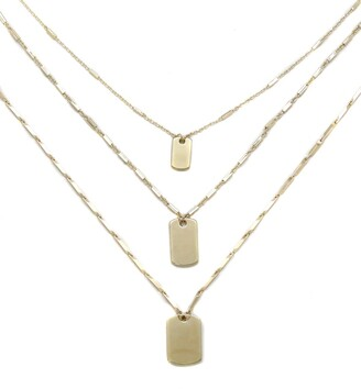 Ettika Gold Tag Necklace - Set of 3