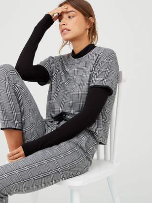 Very Check Co Ord Top - Black/White