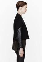 Helmut Lang Black leather sleeved Taper Jacket