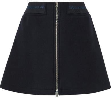 A.P.C. Charlotte Metallic-trimmed Wool-blend Mini Skirt - Navy