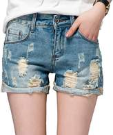Chickle Women's Roll Cuff Ripped Distressed Hot Shorts Jeans US 12 Blue