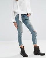 Free People Cut Knee Midrise Skinny Jeans