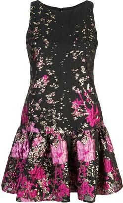 Marchesa Jacquard Ruffled Hem Dress