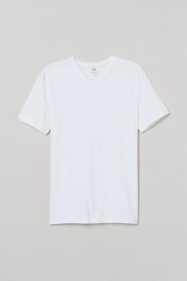 H&M Slim Fit V-neck T-shirt - White