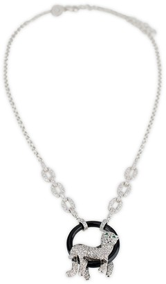 Cz By Kenneth Jay Lane Silvertone, Onyx & Cubic Zirconia Pave Panther Pendant Necklace