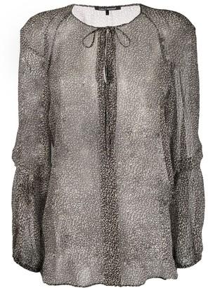 Luisa Cerano sheer leopard print blouse