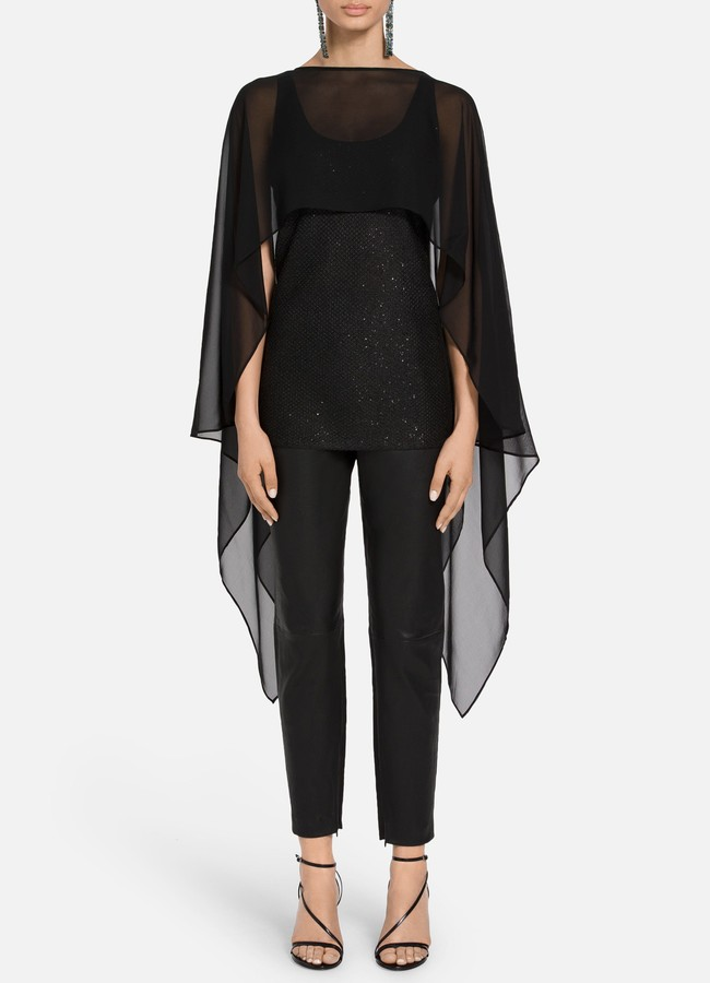 St. John Luxe Sequined Tuck Knit Cape Overlay Top