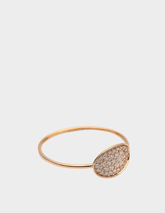 ginette_ny Mini Sequin Diamond 18-karat rose gold ring