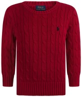 Ralph Lauren Red Cable Knit Sweater