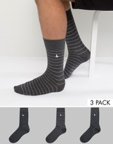 Jack Wills Alandale Dot 3 Pack Socks Charcoal