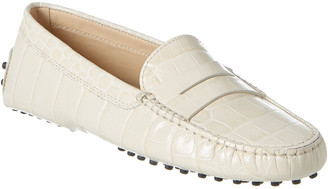 Tod's Gommino Croc-Embossed Leather Driving Shoe