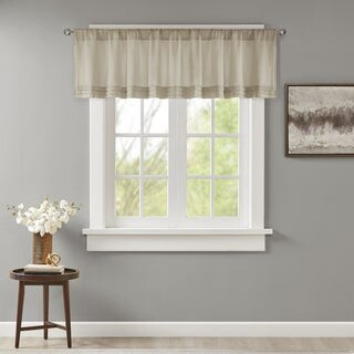 Madison Home USA Arlene Faux Silk Solid Pleated Lined Valance