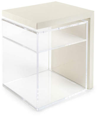 Square Feathers Mercer Acrylic Side Table w/ Shelf