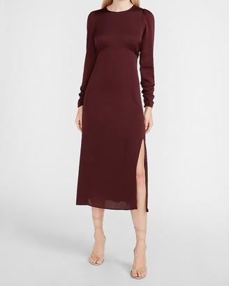 Express Ruched Sleeve Midi Dress