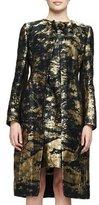 Oscar de la Renta Long-Sleeve Jacquard Coat