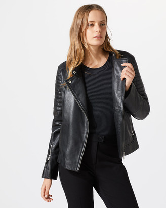 Jigsaw Washed Leather Biker Jacket
