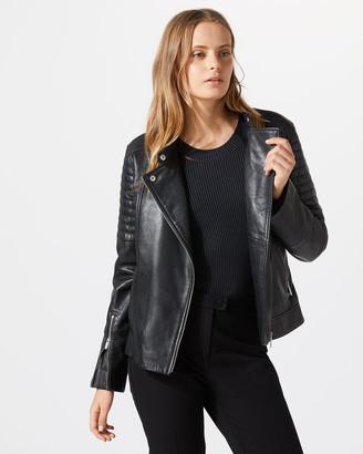 Jigsaw Washed Leather Biker Jacket