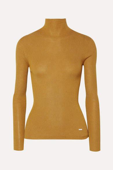 Akris Metallic Ribbed Cashmere-blend Turtleneck Top - Saffron