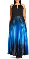 City Chic Plus Size Women's 'Midnight Siren' Pleat Ombre Maxi Dress