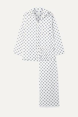 POUR LES FEMMES Polka-dot Cotton-voile Pajama Set - White