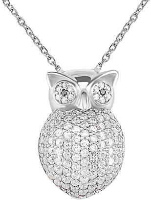 GABIRIELLE JEWELRY Silver Cz Owl Pendant Necklace