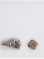 M&S Collection Platinum Plated Diamanté Stud Earrings