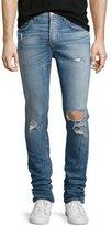 Hudson Sartor Distressed Slouchy-Skinny Jeans, Blue