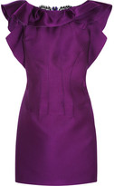 Lanvin Lace-paneled Ruffled Satin Mini Dress - Purple