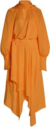 Acler Tilden Draped Georgette Tie-Neck Midi Wrap Dress