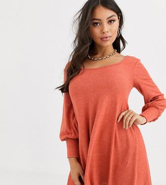 Asos DESIGN Petite long sleeve super soft mini smock dress