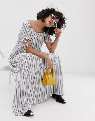 Emory Park maxi dress with tie sleeves in stripe-White