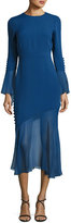 Prabal Gurung Bell-Sleeve Silk Midi Dress with Asymmetric Skirt, Blue
