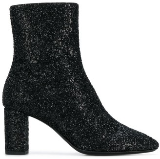Saint Laurent Lou Glitter Sprinkled ankle boots