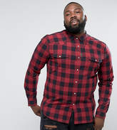 Asos PLUS Skinny Buffalo Plaid Shirt With Western Styling In Red