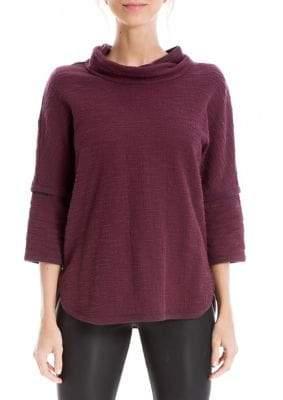 Max Studio Textured Double-Knit Mockneck Sweater