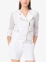 Michael Kors Eyelet-Embroidered Cotton Moto Jacket