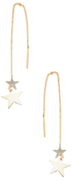 Candela 14K Yellow Gold Double Star Threader Earrings